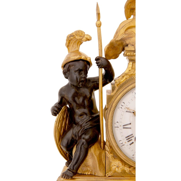 French 19th Century Louis XVI St. Marble, Ormolu and Bronze Clock For Sale 2
