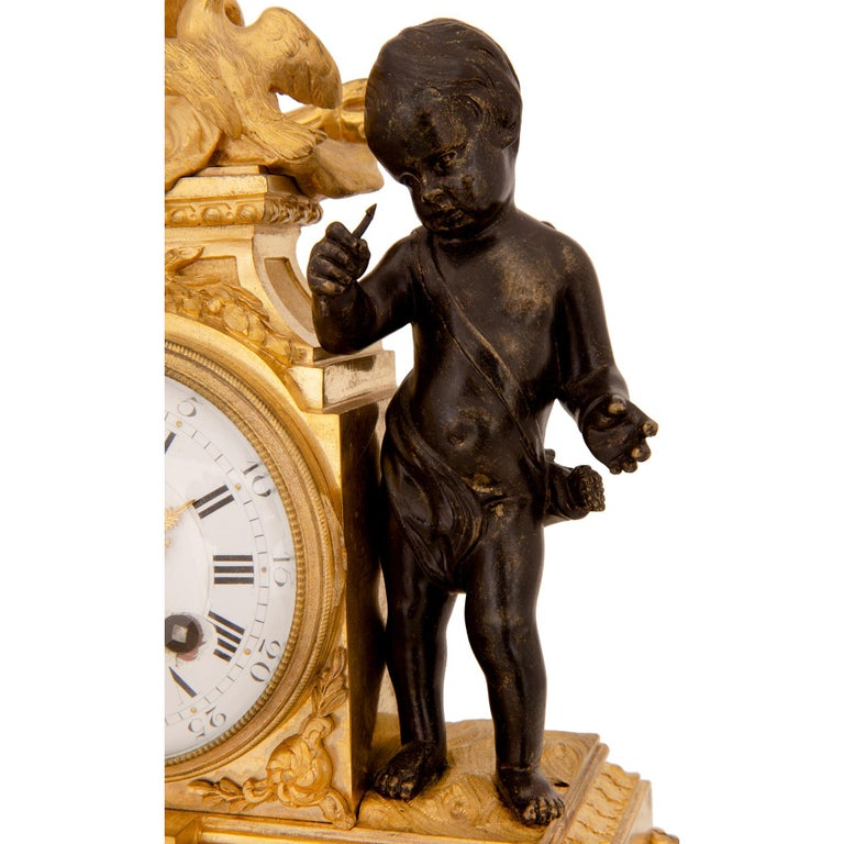 French 19th Century Louis XVI St. Marble, Ormolu and Bronze Clock For Sale 3