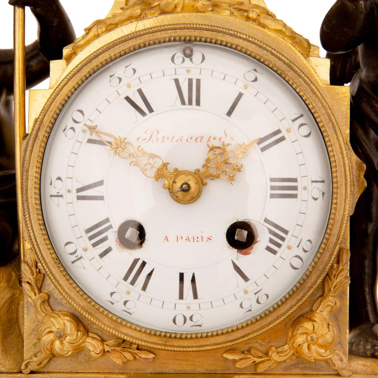 French 19th Century Louis XVI St. Marble, Ormolu and Bronze Clock For Sale 4