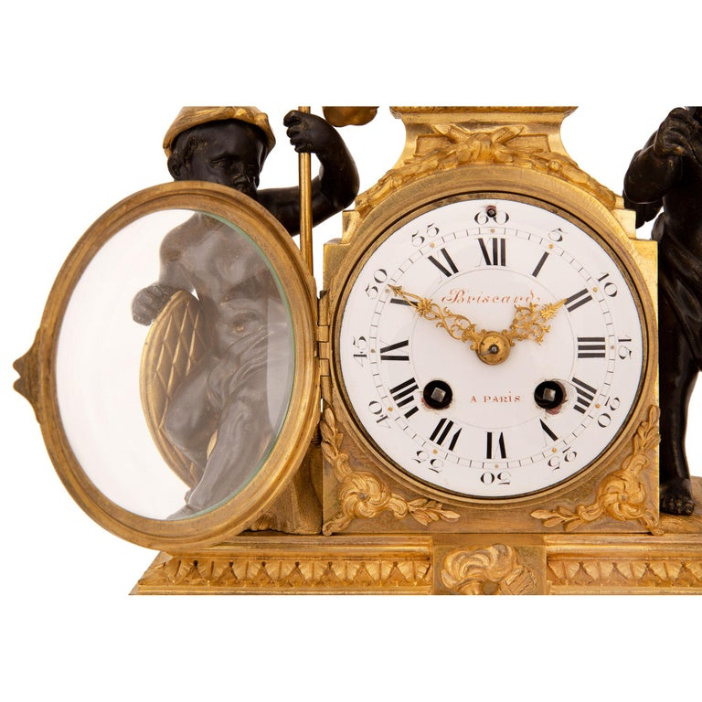 French 19th Century Louis XVI St. Marble, Ormolu and Bronze Clock For Sale 5