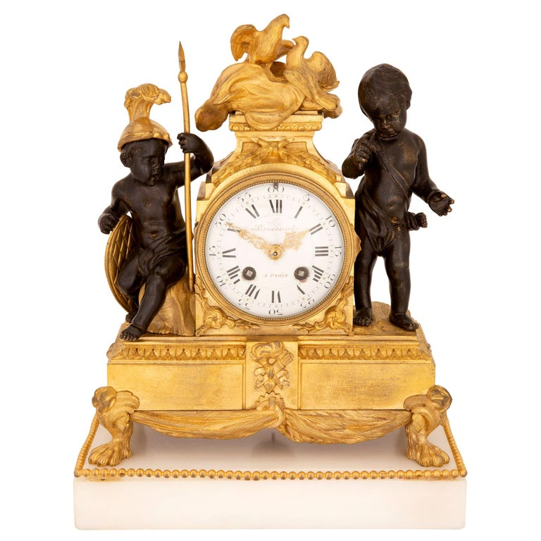 French 19th Century Louis XVI St. Marble, Ormolu and Bronze Clock For Sale
