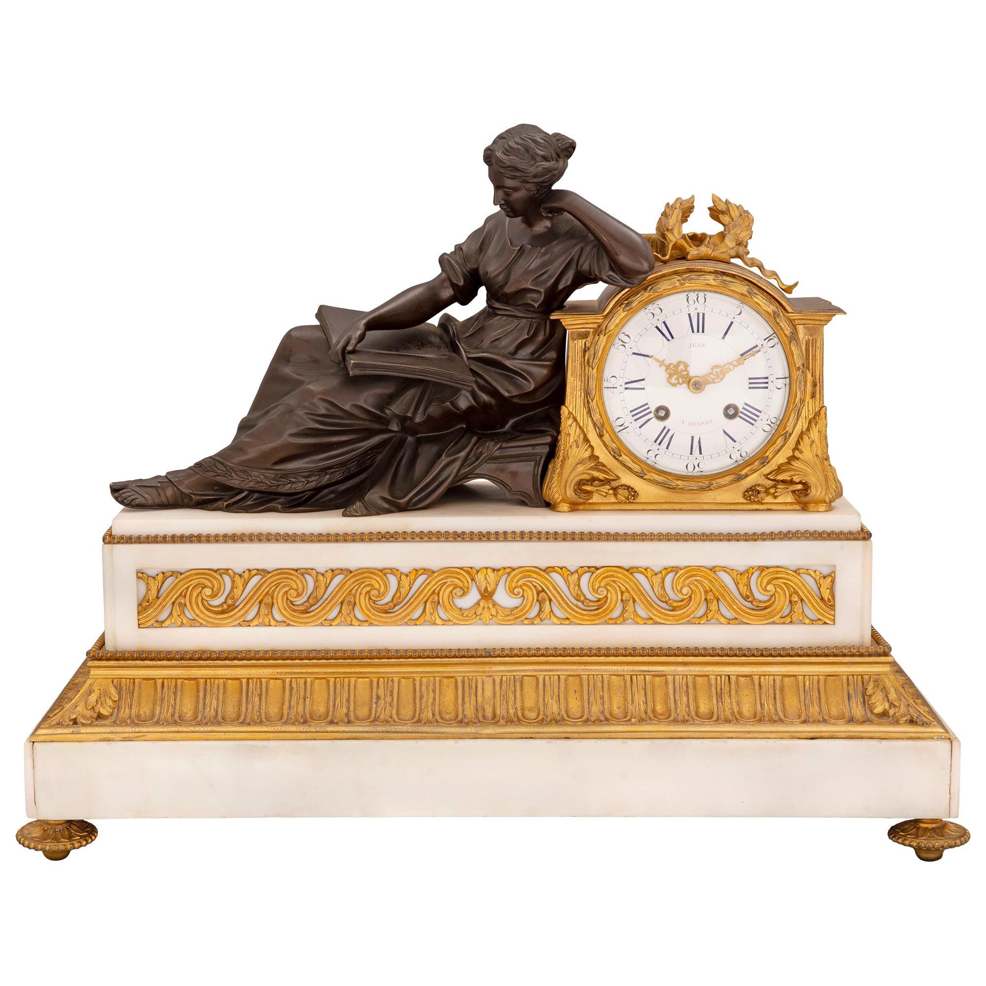 French 19th Century Louis XVI St. Marble, Ormolu and Patinated Bronze Clock