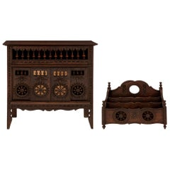 French 19th Century Louis XVI Style Miniature Oak Chest and Letter Carrier