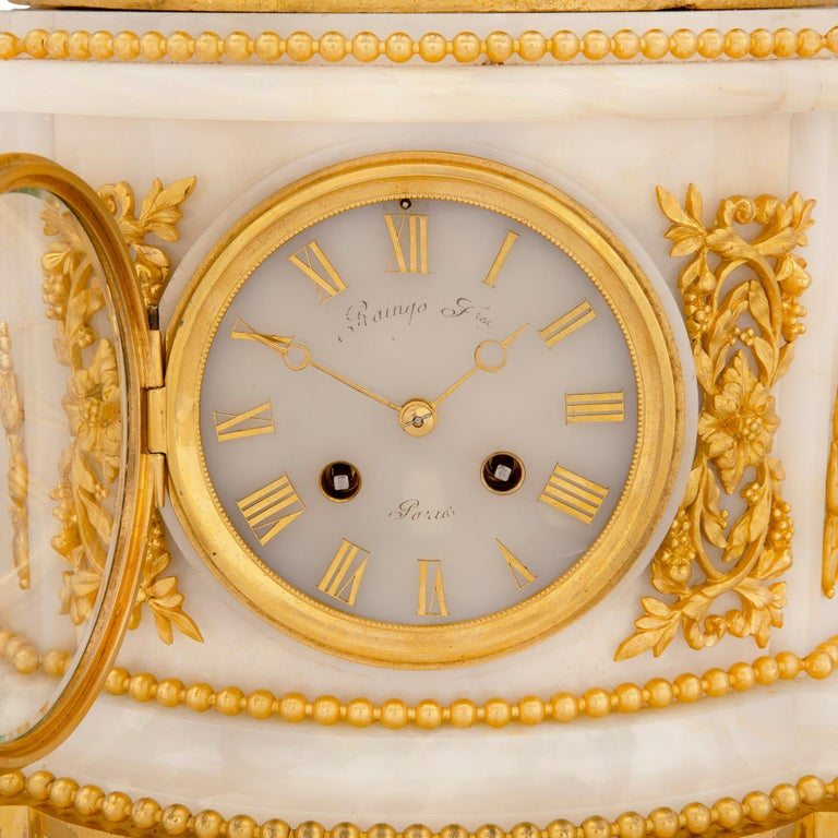 French 19th Century Louis XVI Style Onyx and Ormolu Clock For Sale 7