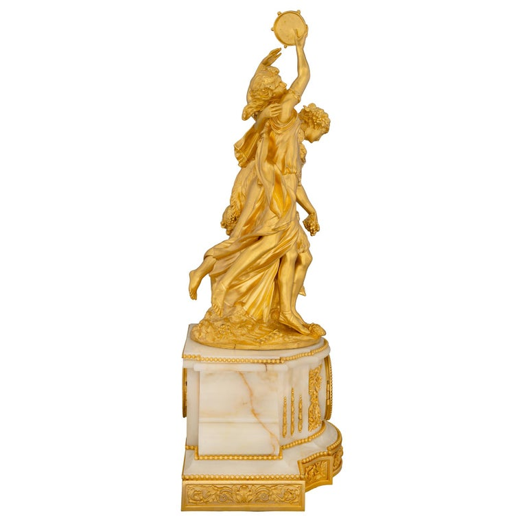 French 19th Century Louis XVI Style Onyx and Ormolu Clock In Excellent Condition For Sale In West Palm Beach, FL