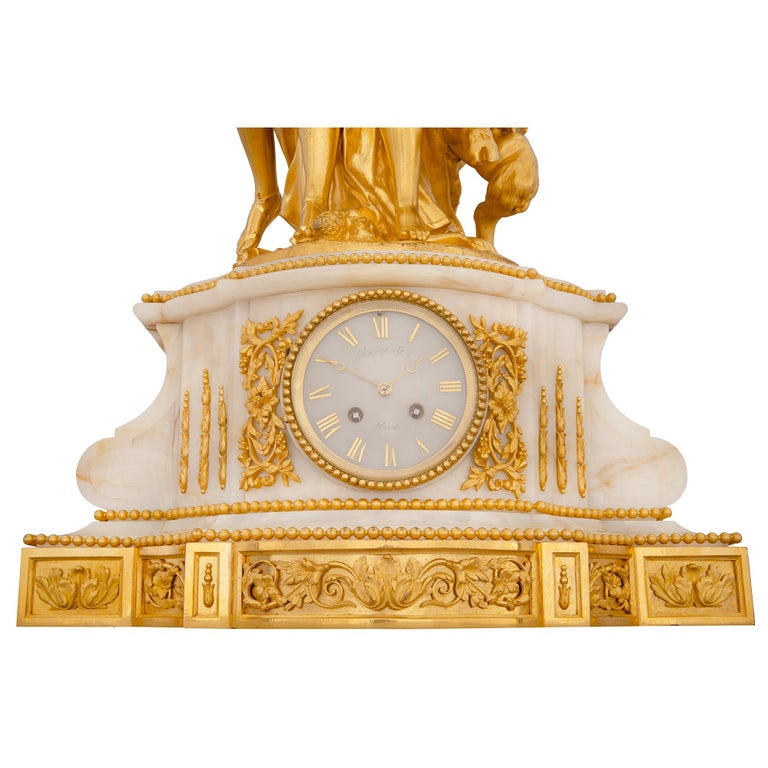French 19th Century Louis XVI Style Onyx and Ormolu Clock For Sale 6