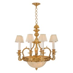 French 19th Century Louis XVI St. Ormolu and Alabaster Chandelier