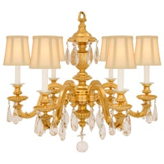 French 19th Century Louis XVI St. Ormolu and Baccarat Crystal Chandelier