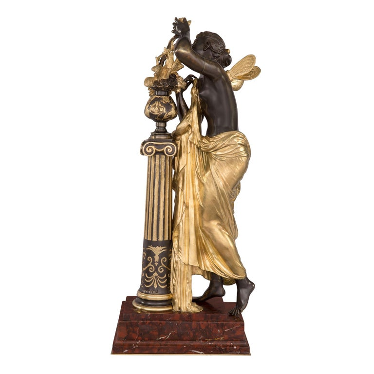 French 19th Century Louis XVI Style Ormolu and Bronze Statue In Good Condition For Sale In West Palm Beach, FL