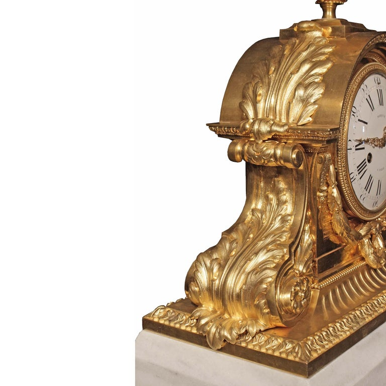 French 19th Century Louis XVI Style Ormolu and Marble Signed Clock In Excellent Condition For Sale In West Palm Beach, FL