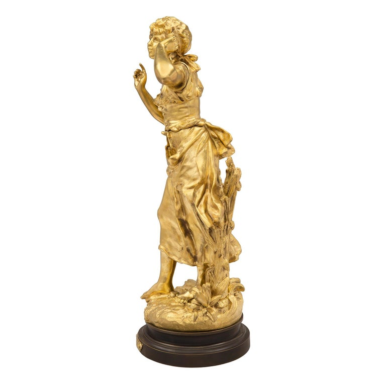 French 19th Century Louis XVI Style Ormolu and Patinated Bronze Statue For Sale 1