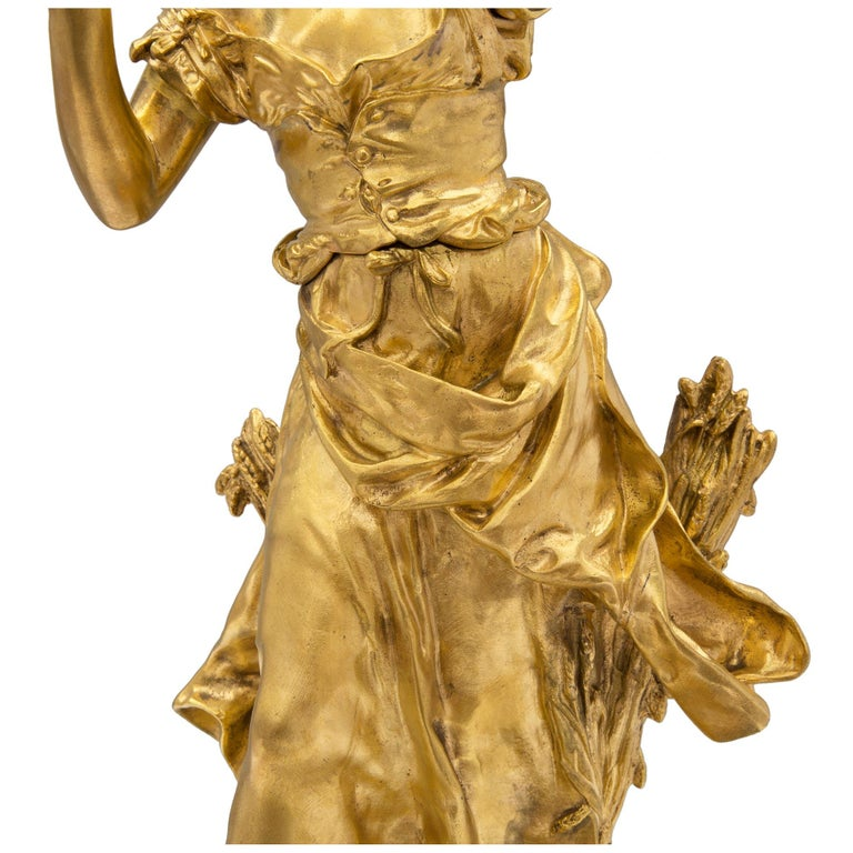 French 19th Century Louis XVI Style Ormolu and Patinated Bronze Statue For Sale 3