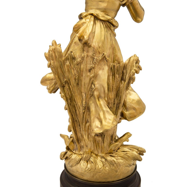 French 19th Century Louis XVI Style Ormolu and Patinated Bronze Statue For Sale 4