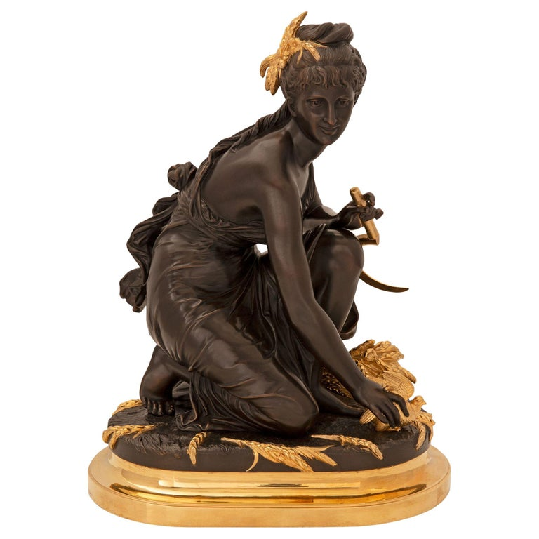 French 19th Century Louis XVI Style Ormolu and Patinated Bronze Statue For Sale
