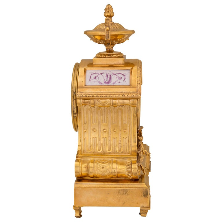 French 19th Century Louis XVI St. Ormolu and Porcelain Clock In Excellent Condition For Sale In West Palm Beach, FL