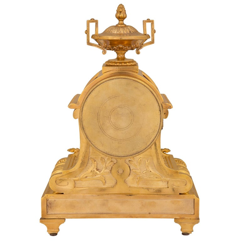 French 19th Century Louis XVI St. Ormolu and Porcelain Clock For Sale 1