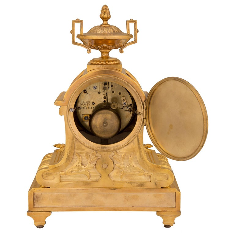 French 19th Century Louis XVI St. Ormolu and Porcelain Clock For Sale 2