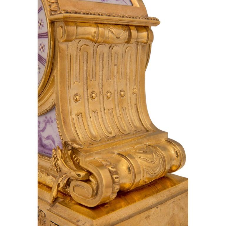 French 19th Century Louis XVI St. Ormolu and Porcelain Clock For Sale 5