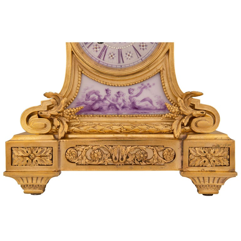 French 19th Century Louis XVI St. Ormolu and Porcelain Clock For Sale 6