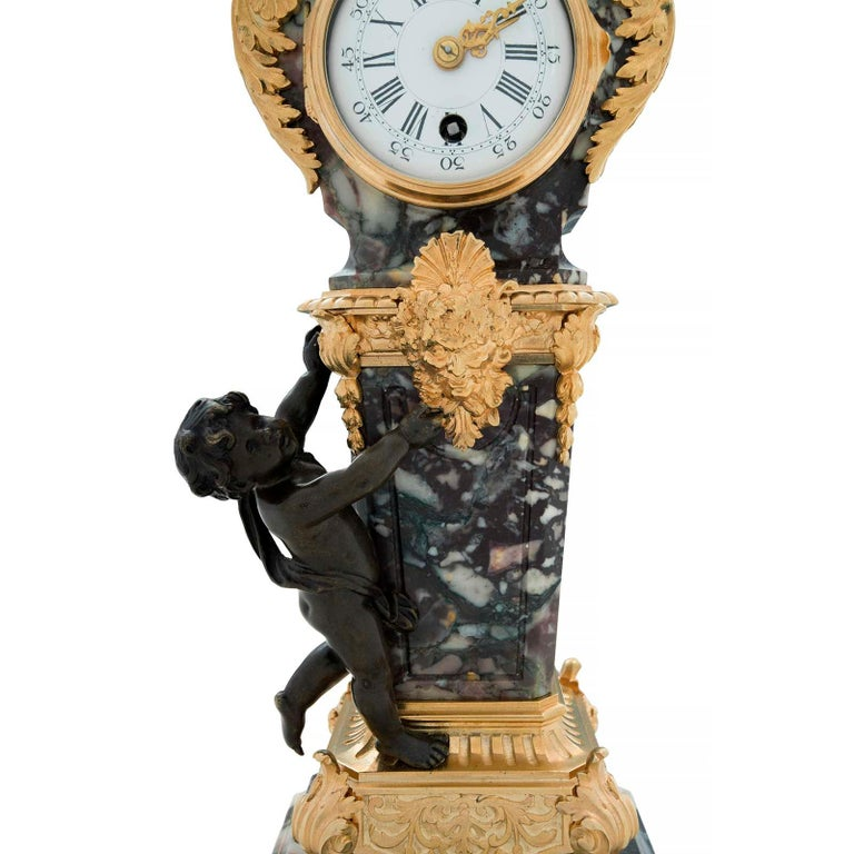 French 19th Century Louis XVI Style Ormolu, Bronze and Marble Clock For Sale 1