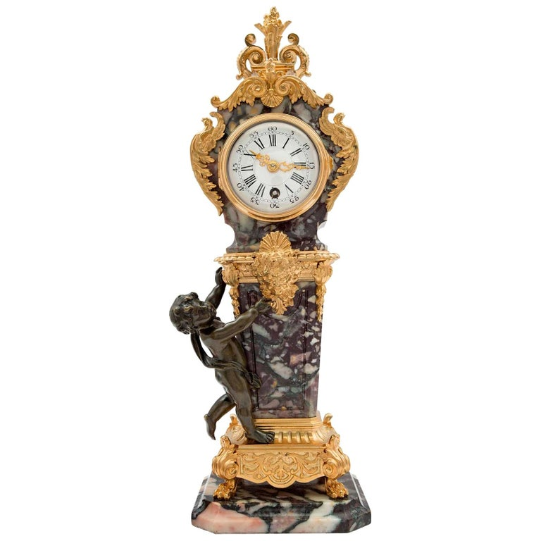 French 19th Century Louis XVI Style Ormolu, Bronze and Marble Clock For Sale