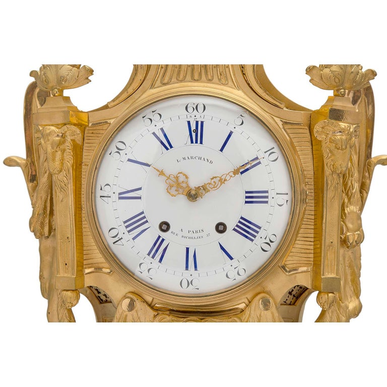 French 19th Century Louis XVI St. Ormolu Cartel Clock, by L. Marchand In Excellent Condition For Sale In West Palm Beach, FL