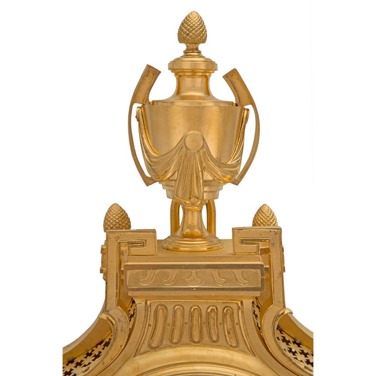 French 19th Century Louis XVI St. Ormolu Cartel Clock, by L. Marchand For Sale 1