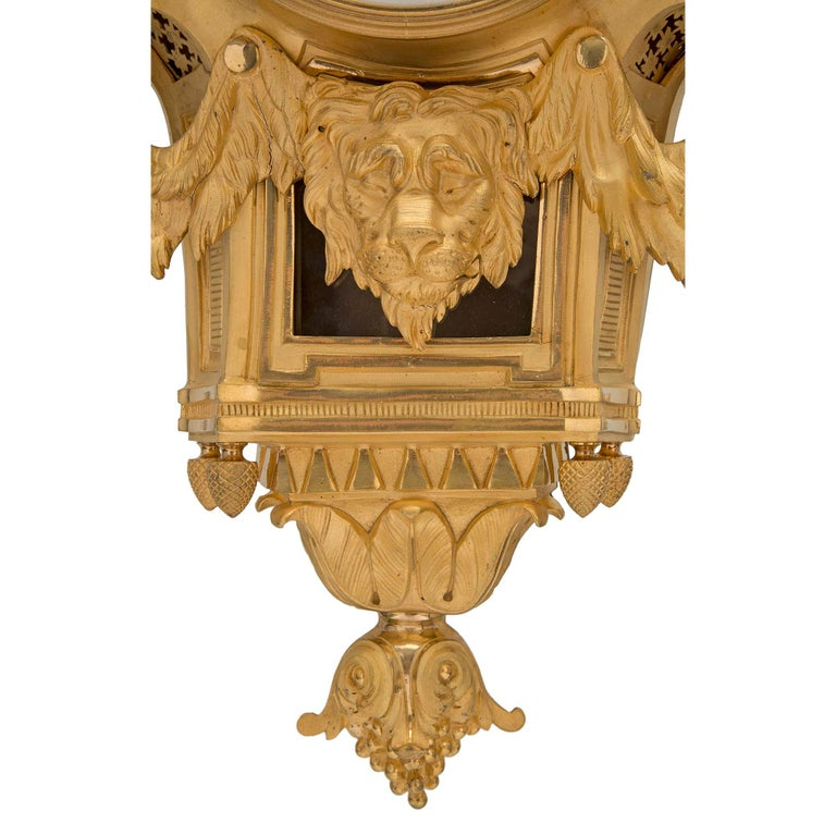 French 19th Century Louis XVI St. Ormolu Cartel Clock, by L. Marchand For Sale 3