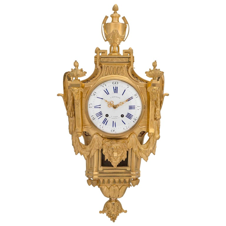 French 19th Century Louis XVI St. Ormolu Cartel Clock, by L. Marchand For Sale