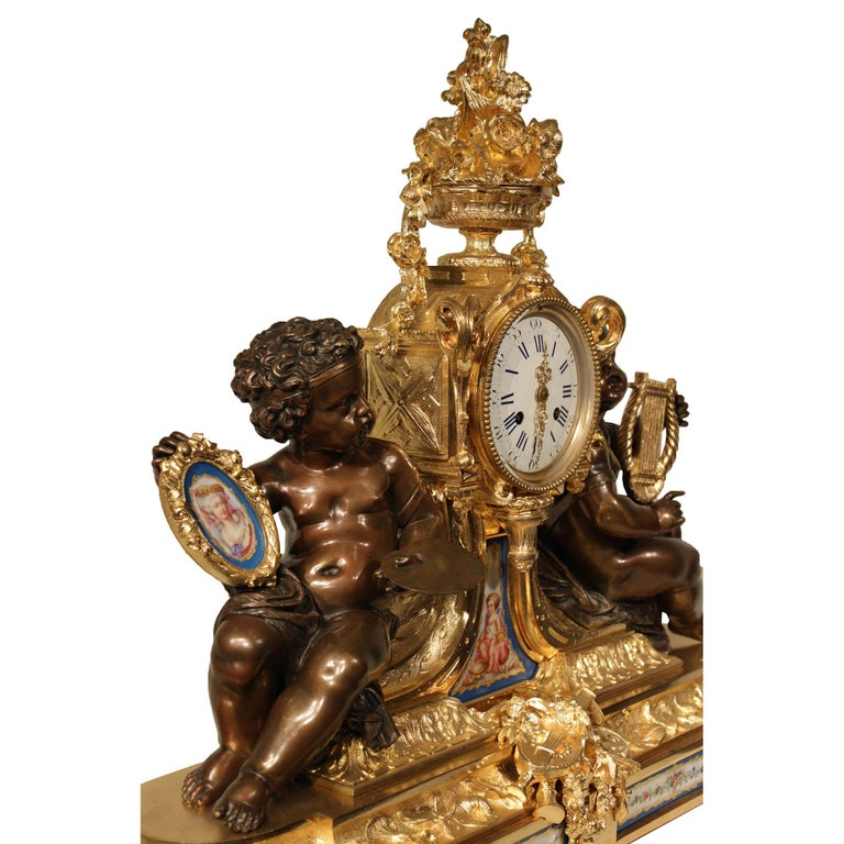 Patinated French 19th Century Louis XVI Style Ormolu Clock For Sale