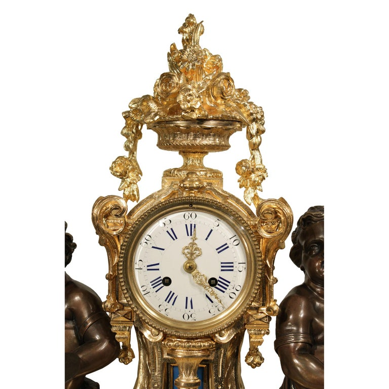 French 19th Century Louis XVI Style Ormolu Clock In Excellent Condition For Sale In West Palm Beach, FL
