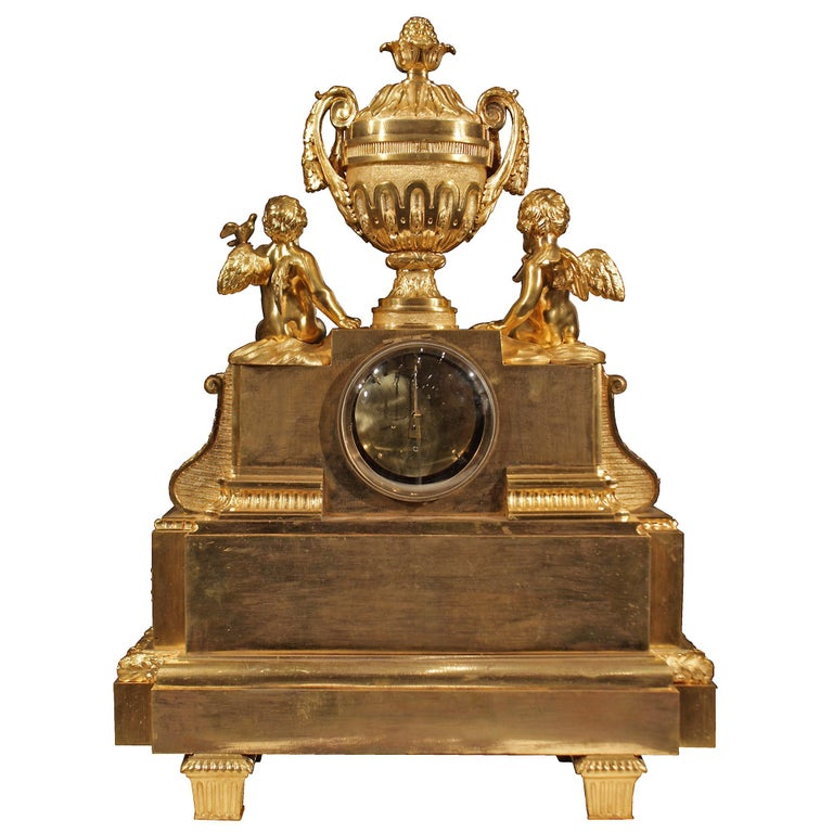 French 19th Century Louis XVI Style Ormolu Clock For Sale 3