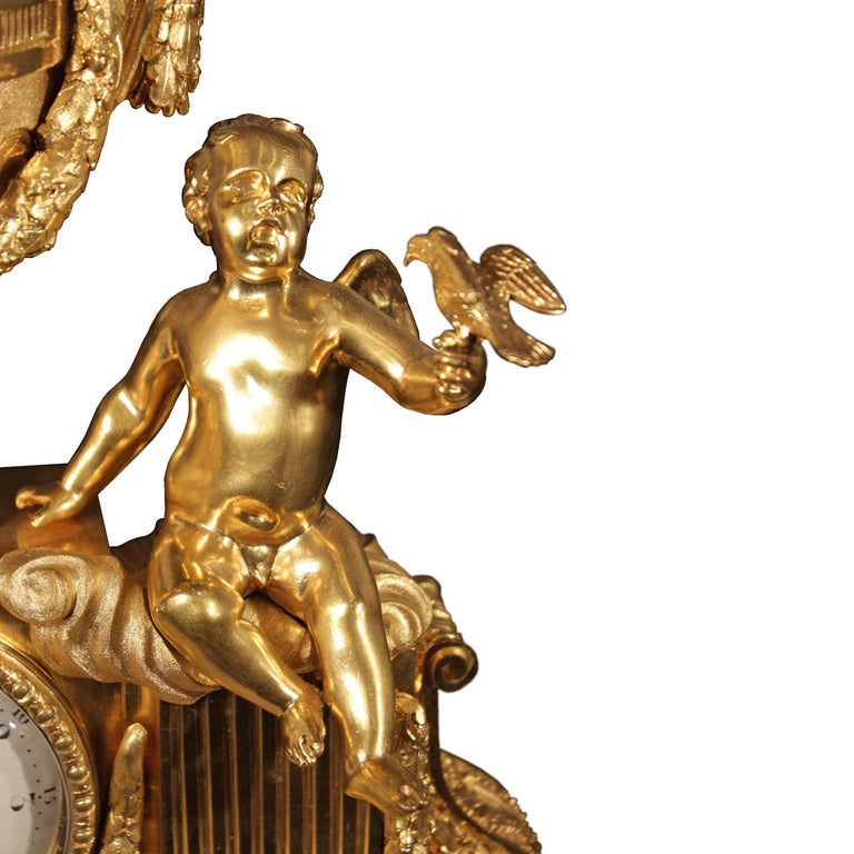 French 19th Century Louis XVI Style Ormolu Clock For Sale 4