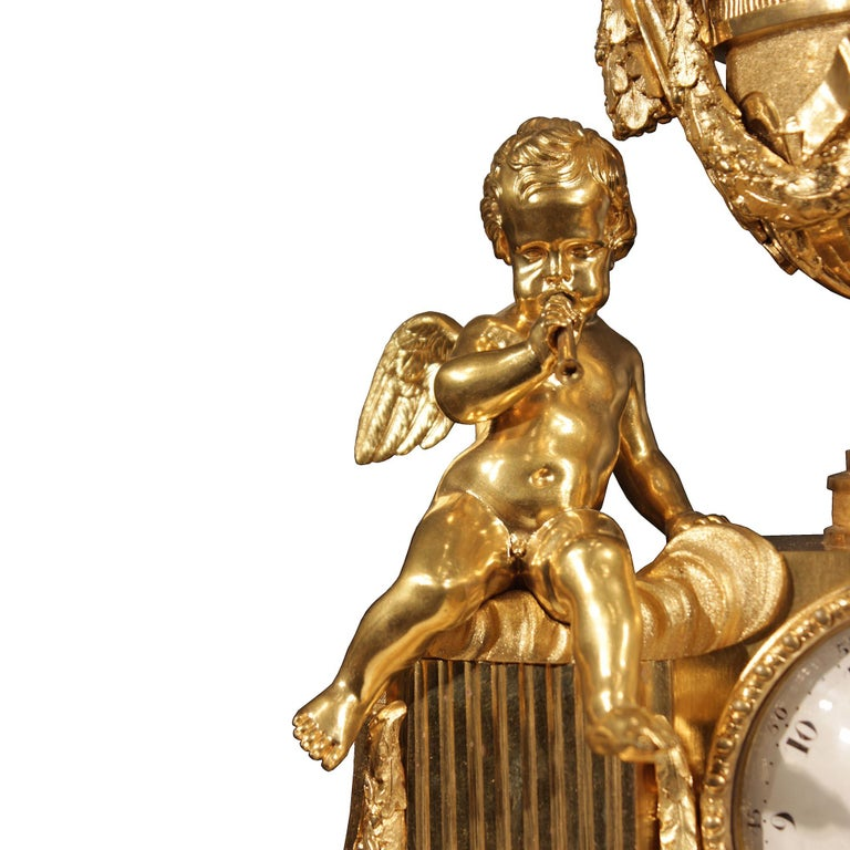 French 19th Century Louis XVI Style Ormolu Clock For Sale 5