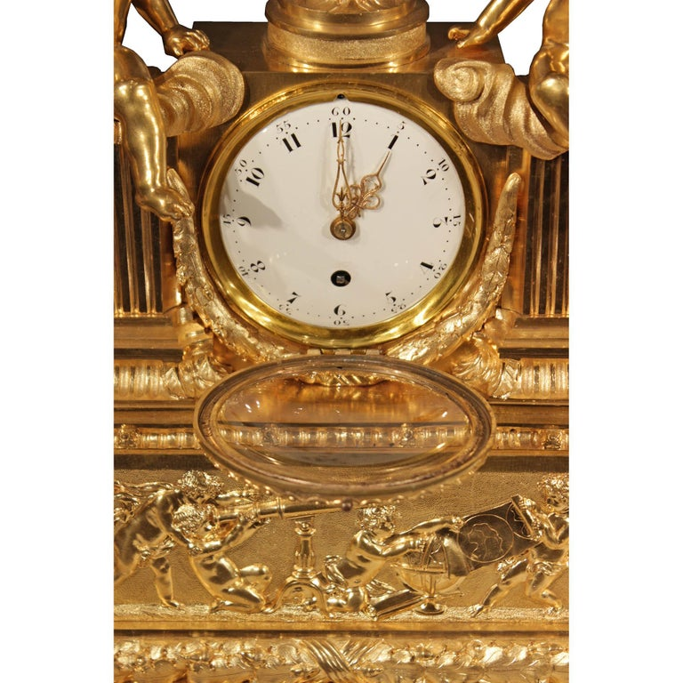 French 19th Century Louis XVI Style Ormolu Clock For Sale 1