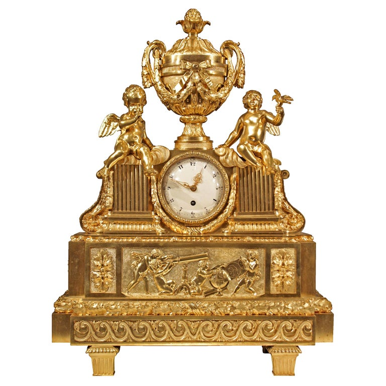 French 19th Century Louis XVI Style Ormolu Clock For Sale