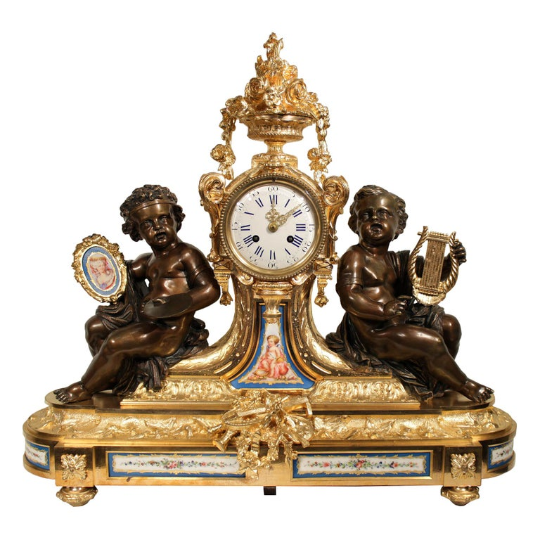 French 19th Century Louis XVI Style Ormolu Clock For Sale