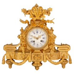 French 19th Century Louis XVI St. Ormolu Clock, Signed Bazzo, A. Angers