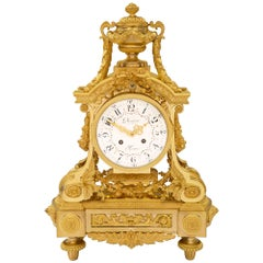 French 19th Century Louis XVI Style Ormolu Clock Signed by Denière