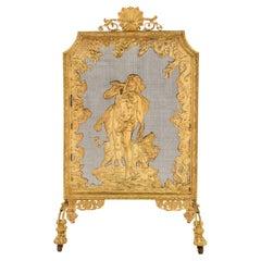 French 19th Century Louis XVI St. Ormolu Fireguard