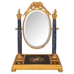 French 19th Century Louis XVI St. Ormolu, Lapis Lazuli and Pietra Dura Mirror