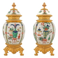 French 19th Century Louis XVI St. Ormolu Mounts on Chinese Export Porcelain Urns