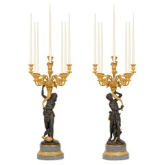 French 19th Century Louis XVI St. Ormolu, Patinated Bronze & Marble Candelabras