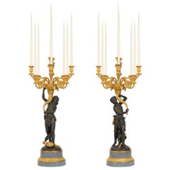 French 19th Century Louis XVI St. Ormolu, Patinated Bronze and Marble Candelabra