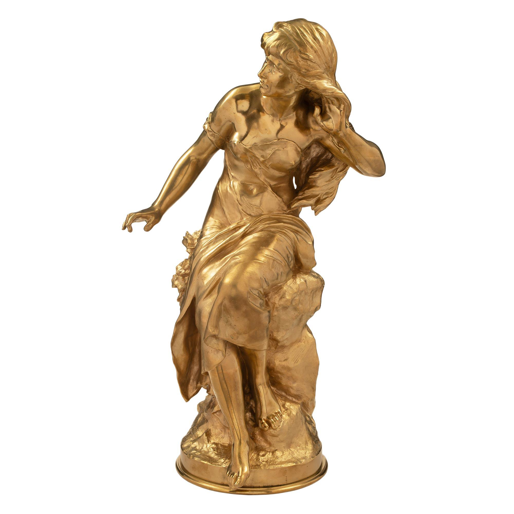 French 19th Century Louis XVI St. Ormolu Statue, by Mathurin Moreau