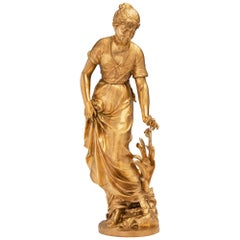 French 19th Century Louis XVI Style Ormolu Statue of a Beautiful Maiden
