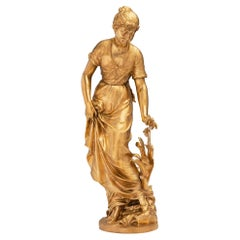 French 19th Century Louis XVI St. Ormolu Statue of a Beautiful Maiden