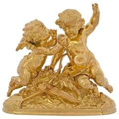 French 19th Century Louis XVI Style Ormolu Statue of Two Cherubs Signed Moreau
