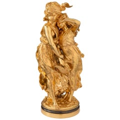 French 19th Century Louis XVI Style Ormolu Statue of Two Maidens, Signed Moreau