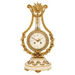 French 19th Century Louis XVI St. Ormolu, White Carrara Marble and Crystal Clock